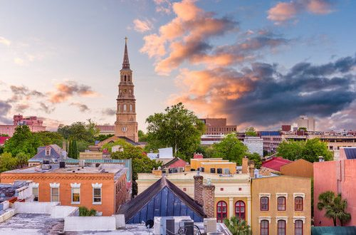 Charleston, South Carolina, USA historic French Quarter skyline.