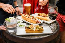 hot dogs beer and wine glasses